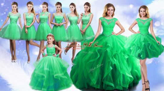 Sleeveless Floor Length Beading and Ruffles Lace Up Quinceanera Dresses with Green