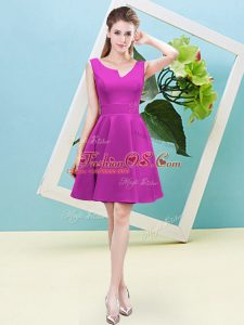 Fuchsia Asymmetric Neckline Ruching Dama Dress Sleeveless Zipper