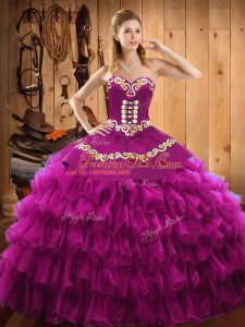 Classical Fuchsia Satin and Organza Lace Up Sweetheart Sleeveless Floor Length 15th Birthday Dress Embroidery and Ruffled Layers
