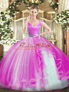 Elegant Hot Pink Ball Gowns Beading and Ruffles Sweet 16 Dress Zipper Tulle Sleeveless Floor Length