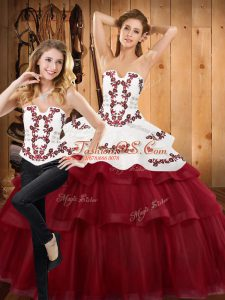 Satin and Organza Sleeveless With Train Quinceanera Dress Sweep Train and Embroidery and Ruffled Layers