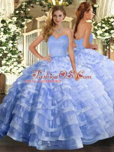 Fashion Sweetheart Sleeveless 15 Quinceanera Dress Floor Length Ruffled Layers Light Blue Organza