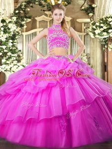 Sweet Floor Length Backless Vestidos de Quinceanera Lilac for Military Ball and Sweet 16 and Quinceanera with Beading and Ruffles and Pick Ups