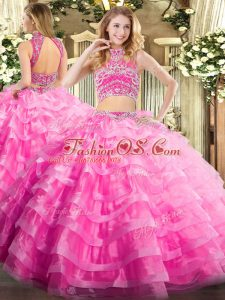 Exquisite Rose Pink Tulle Backless Sweet 16 Dresses Sleeveless Floor Length Beading and Ruffled Layers
