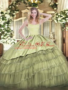 Wonderful Embroidery and Ruffled Layers Quinceanera Gown Olive Green Zipper Sleeveless Floor Length