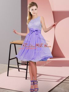 Fashionable Empire Wedding Party Dress Lavender Scoop Chiffon Sleeveless Knee Length Side Zipper