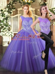 Floor Length Zipper Quinceanera Dress Lavender for Military Ball and Sweet 16 and Quinceanera with Beading