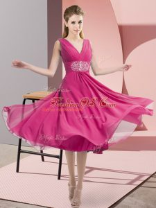 Spectacular Knee Length Hot Pink Bridesmaid Gown Chiffon Sleeveless Beading