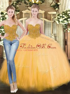 Flare Gold Sleeveless Beading Floor Length Quinceanera Gowns