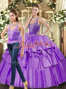 Best Selling Eggplant Purple Two Pieces Ruffled Layers 15 Quinceanera Dress Lace Up Organza Sleeveless Floor Length