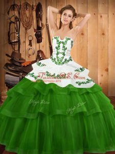 Beauteous Strapless Sleeveless Tulle 15 Quinceanera Dress Embroidery and Ruffled Layers Sweep Train Lace Up