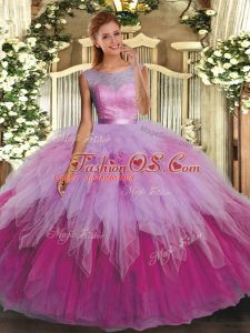 Floor Length Backless Quinceanera Gown Multi-color for Military Ball and Sweet 16 and Quinceanera with Ruffles