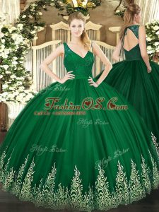 Dark Green Tulle Zipper Sweet 16 Quinceanera Dress Sleeveless Floor Length Beading and Appliques
