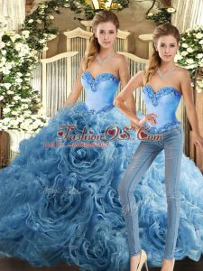 Baby Blue Fabric With Rolling Flowers Lace Up 15 Quinceanera Dress Sleeveless Floor Length Beading