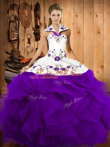 Purple Lace Up Vestidos de Quinceanera Embroidery and Ruffles Sleeveless Floor Length