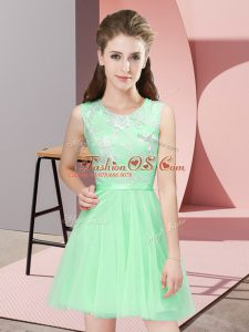 Mini Length Side Zipper Wedding Guest Dresses Apple Green for Prom and Party and Wedding Party with Lace
