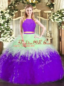 Multi-color Tulle Zipper Scoop Sleeveless Floor Length Sweet 16 Quinceanera Dress Ruffles