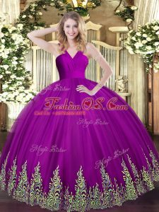 Beautiful Sleeveless Floor Length Appliques Zipper Sweet 16 Dresses with Fuchsia