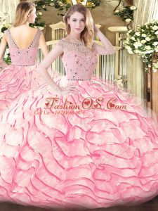 Exceptional Baby Pink Bateau Zipper Beading and Ruffled Layers Sweet 16 Quinceanera Dress Sweep Train Sleeveless