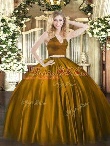 Brown Two Pieces Satin Halter Top Sleeveless Ruching Floor Length Zipper Sweet 16 Quinceanera Dress
