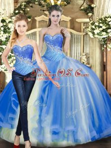 Custom Fit Baby Blue Ball Gowns Tulle Sweetheart Sleeveless Beading Floor Length Lace Up Sweet 16 Dress