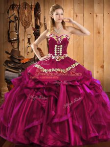 Attractive Fuchsia Quince Ball Gowns Military Ball and Sweet 16 and Quinceanera with Embroidery and Ruffles Sweetheart Sleeveless Lace Up