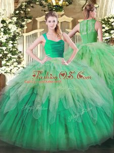 Super Multi-color Quinceanera Gown Military Ball and Sweet 16 and Quinceanera with Ruffles Straps Sleeveless Zipper