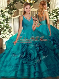Teal Sleeveless Beading and Ruffled Layers Quinceanera Gowns