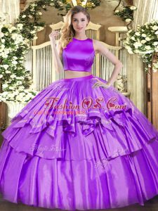 Fashionable Eggplant Purple Tulle Criss Cross High-neck Sleeveless Floor Length Quinceanera Gown Ruffled Layers