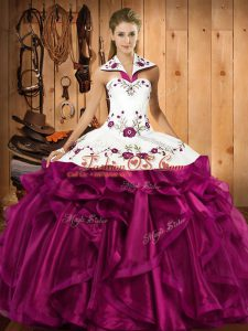 Admirable Fuchsia Organza Lace Up Halter Top Sleeveless Floor Length Quinceanera Dress Embroidery and Ruffles