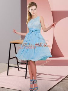 Pretty Aqua Blue Sleeveless Lace and Bowknot Knee Length Bridesmaids Dress