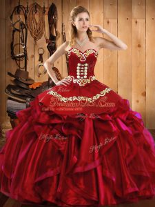 Modern Wine Red Ball Gowns Satin and Organza Sweetheart Sleeveless Embroidery and Ruffles Floor Length Lace Up Ball Gown Prom Dress
