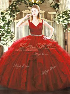 New Style V-neck Sleeveless Zipper Quinceanera Gowns Wine Red Tulle