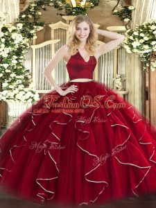 Classical Halter Top Sleeveless Quinceanera Gown Floor Length Ruffles Wine Red Organza