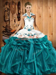 Discount Sleeveless Lace Up Floor Length Embroidery and Ruffles Quinceanera Gown