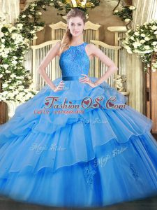 Organza Sleeveless Floor Length Sweet 16 Dresses and Lace and Ruffled Layers