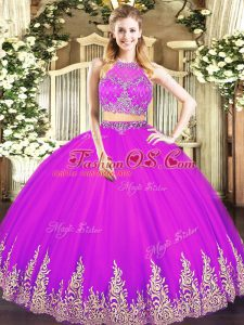 Fuchsia Scoop Neckline Beading and Appliques Sweet 16 Quinceanera Dress Sleeveless Zipper