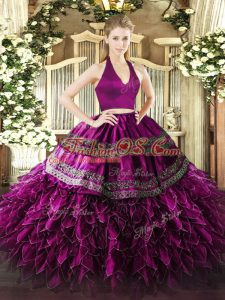 Admirable Halter Top Sleeveless Organza 15th Birthday Dress Appliques and Ruffles Zipper