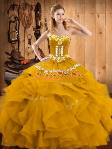 Nice Sleeveless Floor Length Embroidery and Ruffles Lace Up Quinceanera Gown with Gold