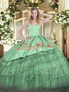 Flirting Green Ball Gowns Organza Straps Sleeveless Embroidery and Ruffled Layers Floor Length Zipper Sweet 16 Dresses