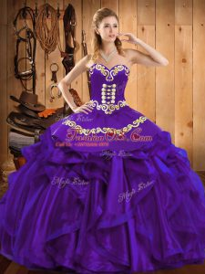 Glamorous Purple Organza Lace Up Sweetheart Sleeveless Floor Length Sweet 16 Quinceanera Dress Embroidery and Ruffles