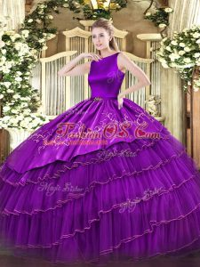 Organza Scoop Sleeveless Clasp Handle Embroidery and Ruffled Layers Ball Gown Prom Dress in Purple