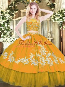 Elegant Gold Sleeveless Tulle Zipper Sweet 16 Dresses for Military Ball and Sweet 16 and Quinceanera