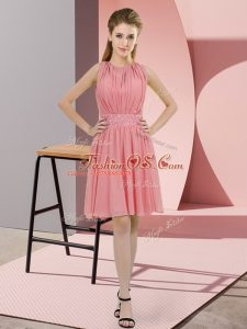 Watermelon Red Sleeveless Chiffon Zipper Damas Dress for Prom and Party and Wedding Party