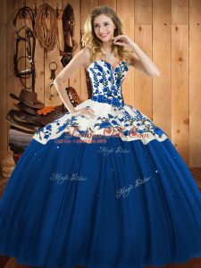 Blue Sweetheart Lace Up Embroidery Quinceanera Dress Sleeveless