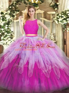 Floor Length Fuchsia Quinceanera Dress Organza Sleeveless Lace and Ruffles