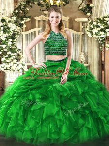 Green Zipper Halter Top Beading and Ruffles Quinceanera Gowns Tulle Sleeveless
