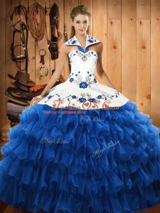 Blue Ball Gowns Embroidery and Ruffled Layers Quinceanera Dress Lace Up Organza Sleeveless Floor Length