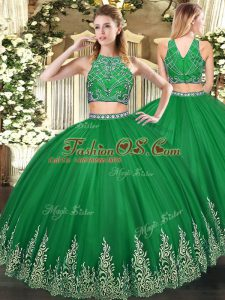 f49b77289c7 Dynamic Dark Green High-neck Zipper Beading and Ruffles Sweet 16 Quinceanera  Dress Sleeveless  US  204.4900