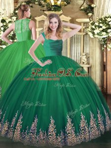 Custom Made Sleeveless Tulle Floor Length Lace Up Sweet 16 Dress in Turquoise with Beading and Appliques